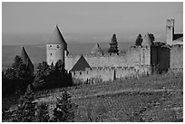 Historic fortified city. Carcassonne, France (black and white)