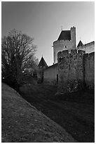Fortifications at dusk. Carcassonne, France (black and white)