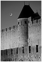 Ramparts and crescent moon. Carcassonne, France (black and white)