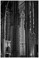 Columns, statues, and stained glass, basilique St-Nazaire. Carcassonne, France (black and white)