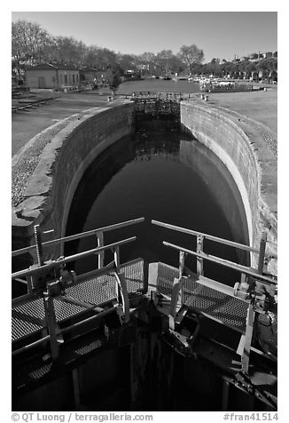 Lock and basin, Canal du Midi. Carcassonne, France (black and white)