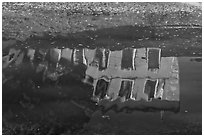 House reflections with fallen leaves, Canal du Midi. Carcassonne, France (black and white)