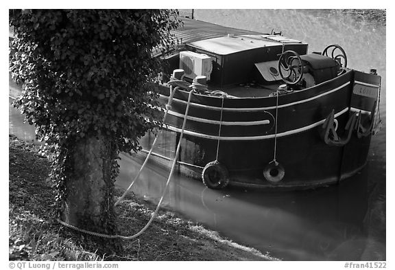 Anchored barge detail, Canal du Midi. Carcassonne, France (black and white)