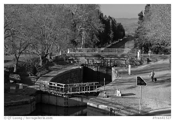 River navigation lock system, Canal du Midi. Carcassonne, France (black and white)