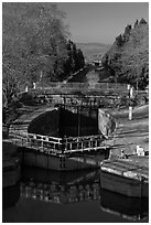 Lock chamber and gate, Canal du Midi. Carcassonne, France (black and white)
