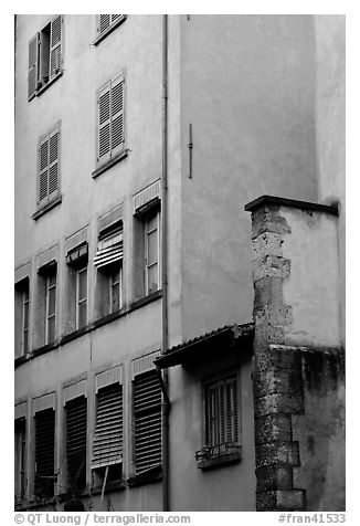 House facade. Grenoble, France (black and white)