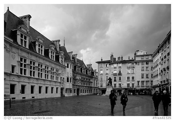 Place St Andre. Grenoble, France (black and white)