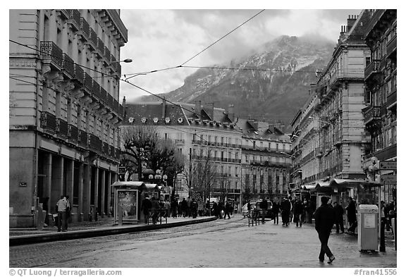 Downtown street on wintry day. Grenoble, France (black and white)