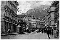 Downtown street on wintry day. Grenoble, France ( black and white)
