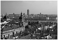 Cityscape with Hotel Dieu. Lyon, France ( black and white)