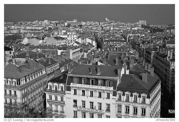 Presqu'ile cityscape. Lyon, France (black and white)