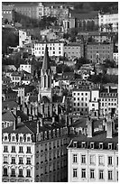 View of city and St-George church. Lyon, France ( black and white)