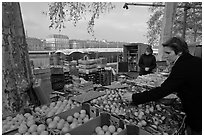 Fruit market on the banks of the Rhone River. Lyon, France ( black and white)