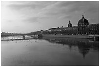 Rhone River and Hotel Dieu. Lyon, France ( black and white)