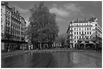 Basin and pedestrian area. Lyon, France ( black and white)