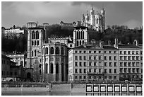 Cathedrale St Jean, Basilique Notre Dame de Fourviere. Lyon, France ( black and white)