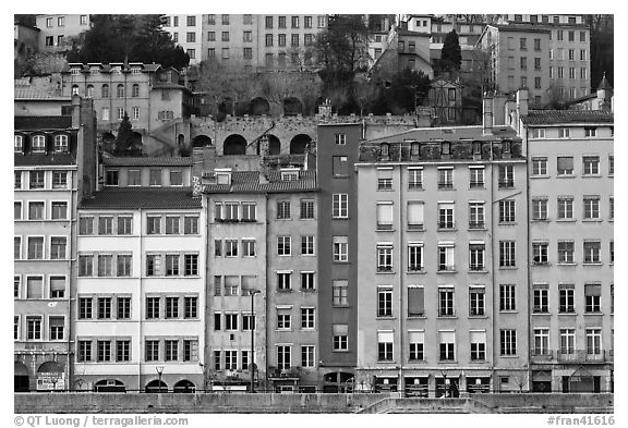 Painted houses on banks of the Saone River. Lyon, France (black and white)