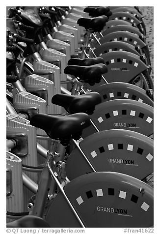 Bicycles for rent. Lyon, France (black and white)