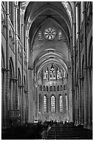 Gothic interior of Saint Jean Cathedral. Lyon, France (black and white)