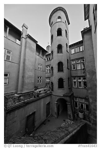 Tour Rose seen from courtyard. Lyon, France (black and white)