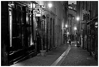 Rue du Boeuf at night. Lyon, France ( black and white)
