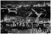 Presqu'ile by night, as seen from Fourviere Hill. Lyon, France ( black and white)