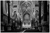 Inside Basilica Notre-Dame of Fourviere, in Romanesque and Byzantine architecture. Lyon, France (black and white)