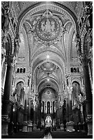 Heavily decorated dome of  Notre Dame of Fourviere basilic. Lyon, France (black and white)