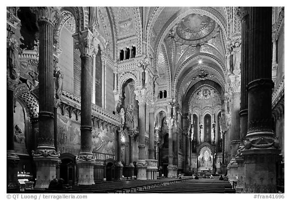 Interior of Basilica Notre-Dame of Fourviere designed by Pierre Bossan. Lyon, France (black and white)