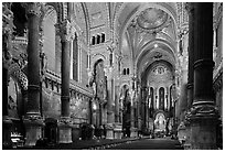 Interior of Basilica Notre-Dame of Fourviere designed by Pierre Bossan. Lyon, France ( black and white)
