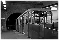 Funiculaire of  Notre-Dame of Fourviere hill, upper station. Lyon, France (black and white)