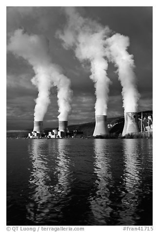Smoke Emitting From Cooling Towers, Cruas Nuclear Power Station. Provence, France (black and white)
