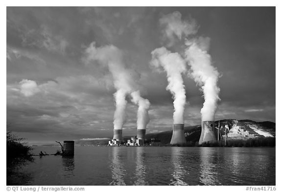Atomic Power Station with four pressurized water reactors. Provence, France (black and white)