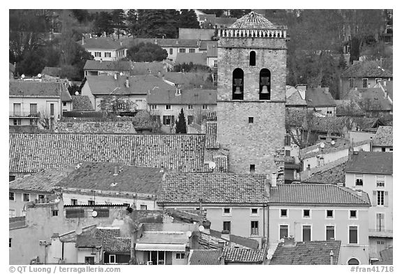 Red tile rooftops and church tower, Orange. Provence, France (black and white)