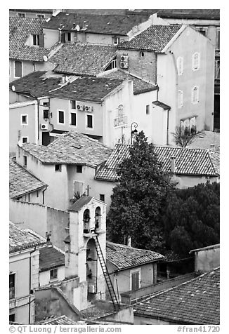 Townhouses with red tile rooftops, Orange. Provence, France (black and white)