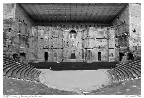 Tiered seats, orchestra, stage, and stage roof, Roman theater. Provence, France