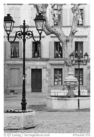 Town square, Orange. Provence, France (black and white)