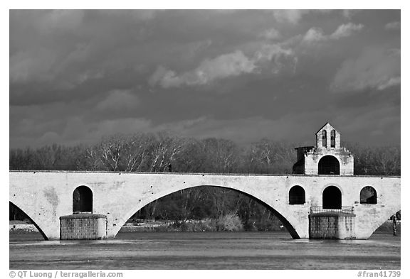 St Benezet Bridge (Pont d'Avignon). Avignon, Provence, France (black and white)