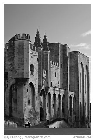 Massive walls of the Palace of the Popes. Avignon, Provence, France (black and white)