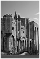 Massive walls of the Palace of the Popes. Avignon, Provence, France ( black and white)