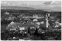 View over town and Alpilles mountains. Avignon, Provence, France ( black and white)