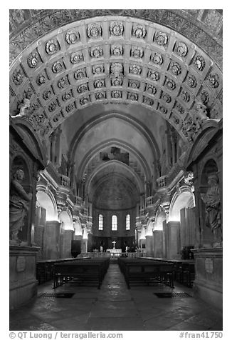 Romanesque nave of Cathedral of Notre-Dame-des-Doms. Avignon, Provence, France (black and white)