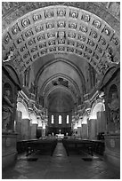 Romanesque nave of Cathedral of Notre-Dame-des-Doms. Avignon, Provence, France ( black and white)