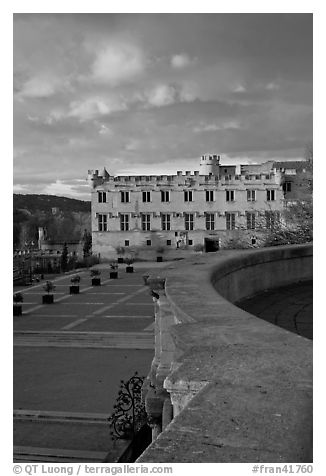 Petit Palais at sunset. Avignon, Provence, France (black and white)