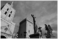 Towers and statues at sunset. Avignon, Provence, France (black and white)