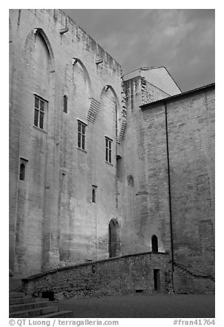 Wall of honnor courtyard. Avignon, Provence, France (black and white)
