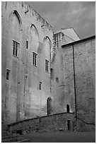 Wall of honnor courtyard. Avignon, Provence, France ( black and white)