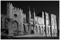 Gothic facade of Papal Palace at night. Avignon, Provence, France ( black and white)