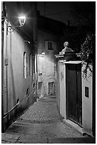 Narrow cobblestone street and street light. Avignon, Provence, France (black and white)