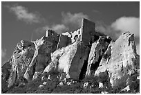 Rocky outcrop and ruined castle, Les Baux-de-Provence. Provence, France ( black and white)